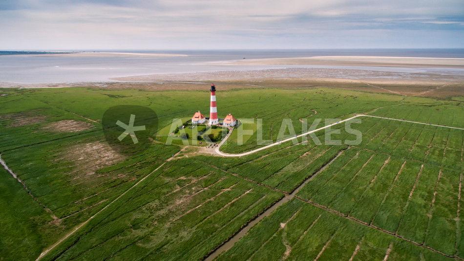 Westerhever Luftaufnahme Leuchtturm