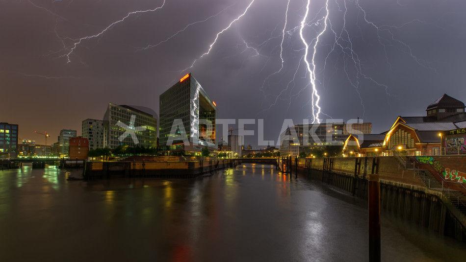 Gewitter Hamburg Blitz Spiegel Elbe