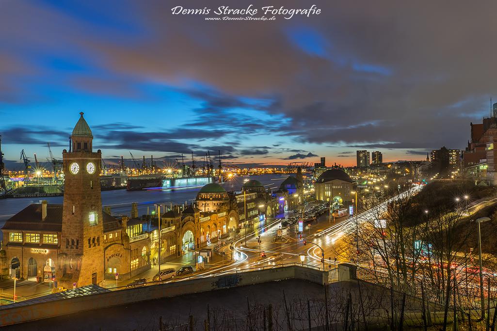 Abends am Stintfang Landungsbrücken