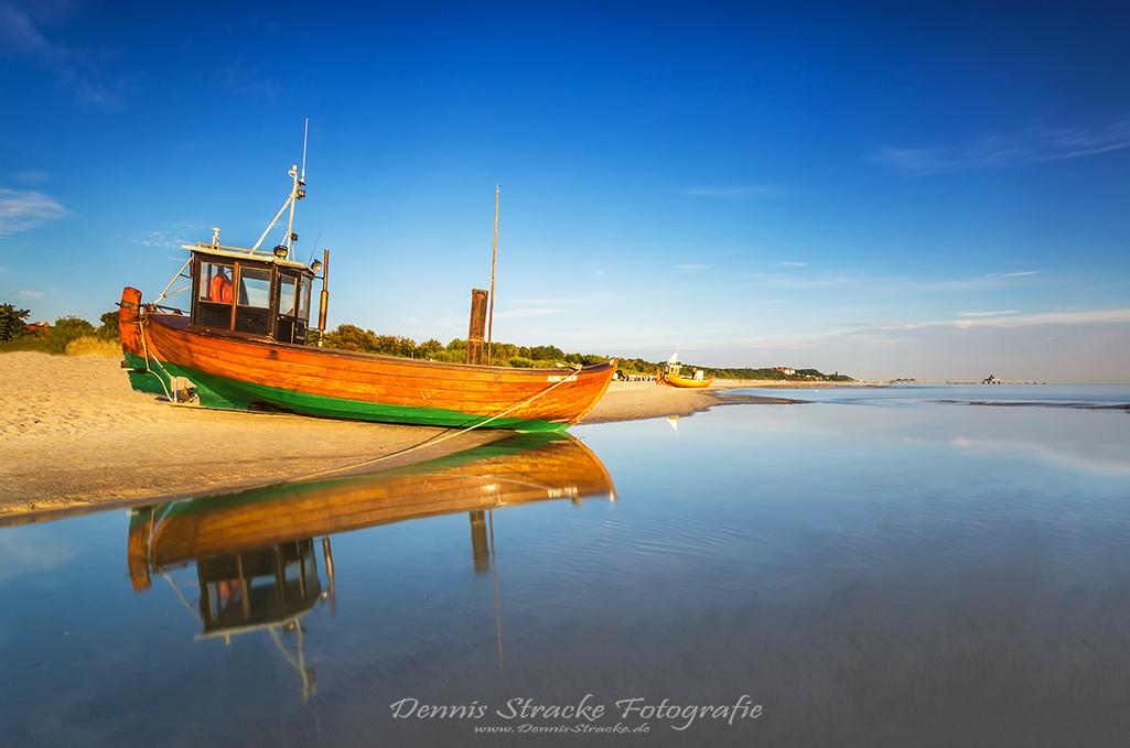 Fischerboot am Strand von Heringsdor