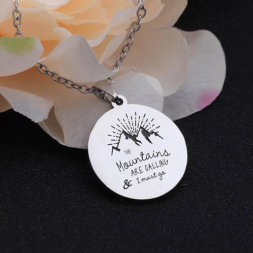Mountain Are Calling I Must Go Carved Gift For Daddy Friend Mountaineer Neckla