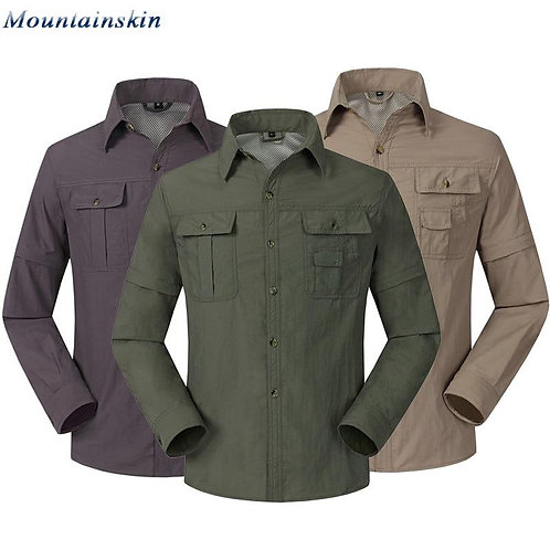 Quick Dry Outdoor Men's Hiking Shirts Breathable Removable   Sports Fishing Tr