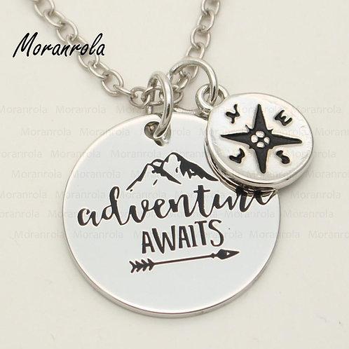 """Adventure Awaits"" Necklace & Keychain Charm"