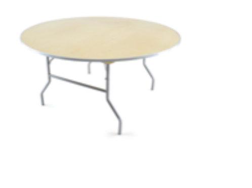 60' Round Table - Heavy Duty Birchwood Folding Banquet