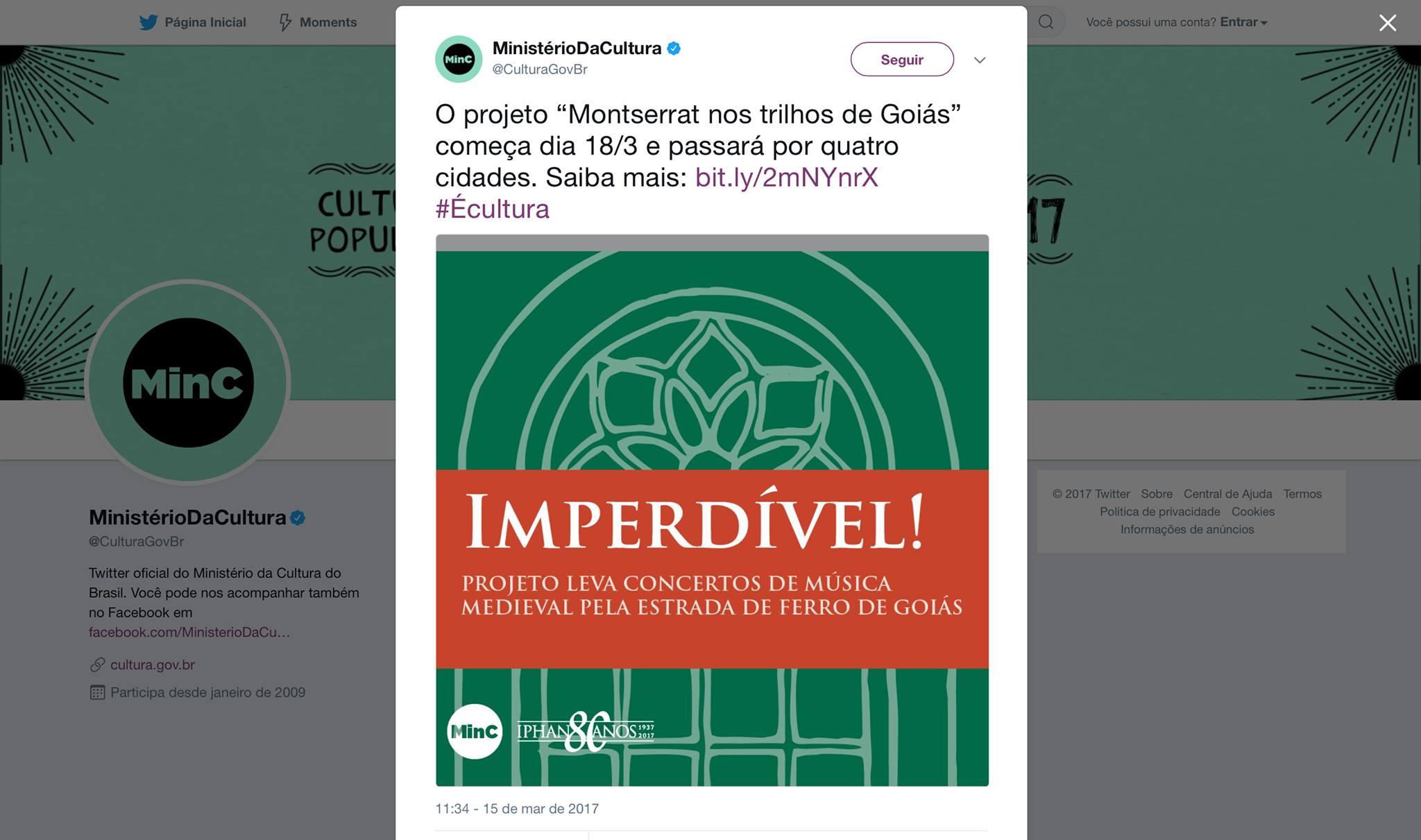 Twitter Ministério da Cultura