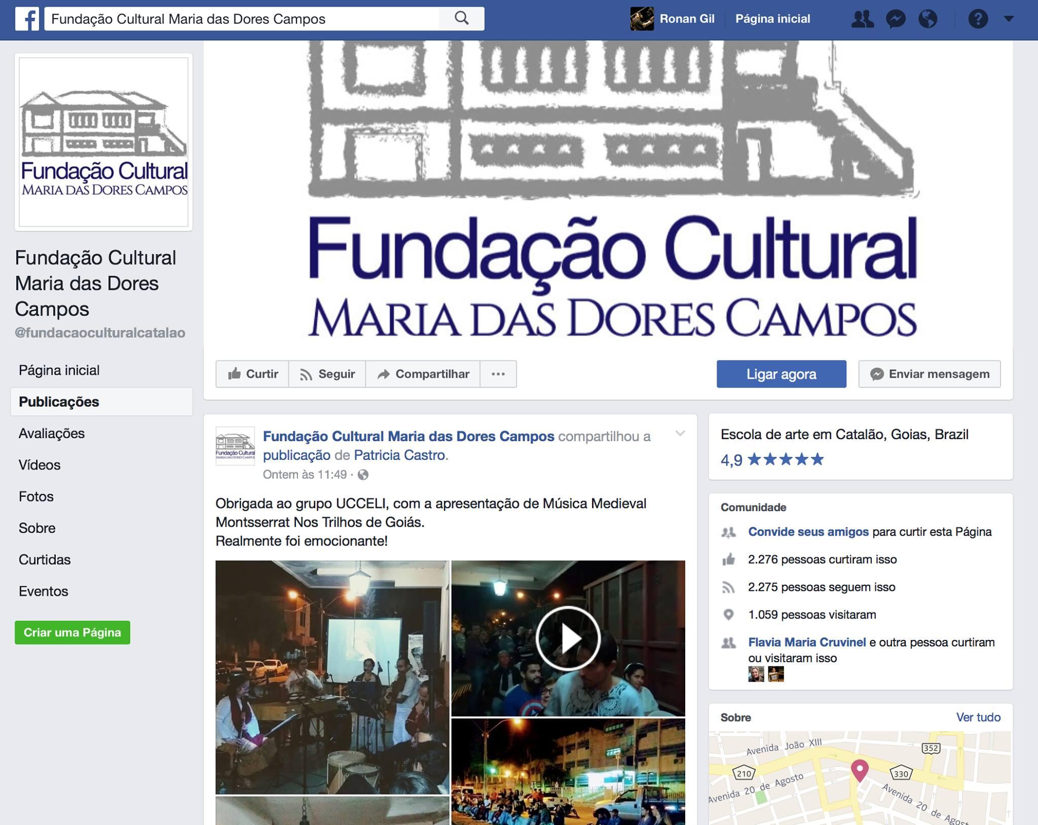 Facebook Fundação Maria das Dores