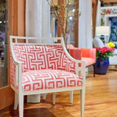 Upholstered Chair With Thibaut Greek Key
