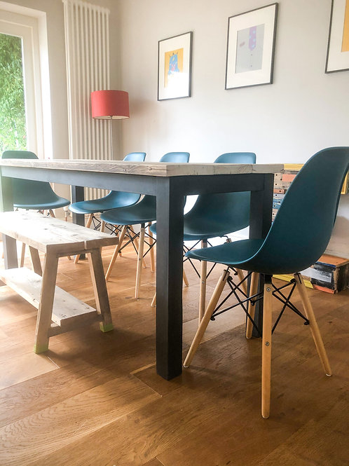 Butted Scaffold table 6-8 seater hand painted legs