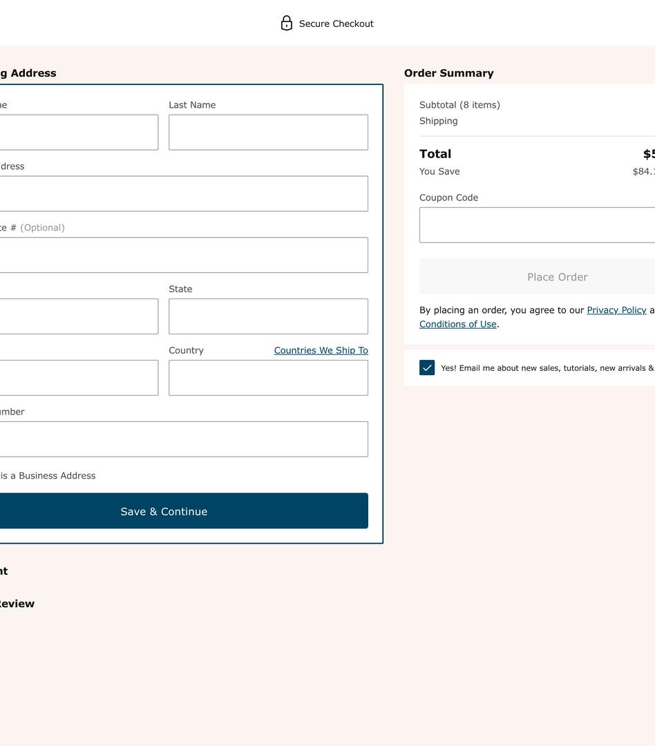 Desktop Shipping (Guest & Create Account