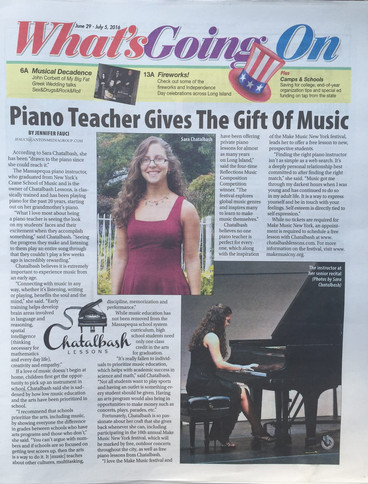 the observer newspaper article about young female piano teacher Sara Chatalbash gives gift of music make music day playing piano