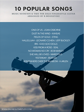 10 Popular songs arranged for solo fingerstyle guitar - Digital download (PDF)