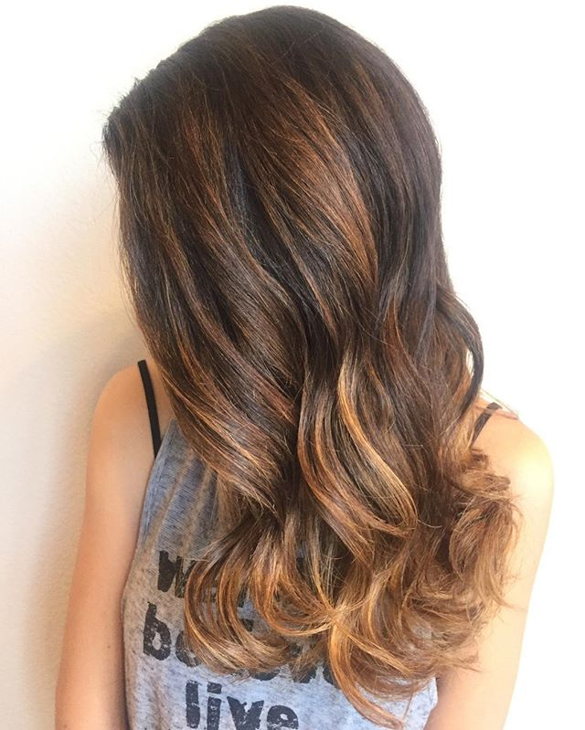 Balayage ombré over natural level 4 hair. Toned with Semi Silver