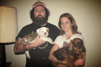 Joel Morrison and Marika Fengler with their dogs Boggle and DD