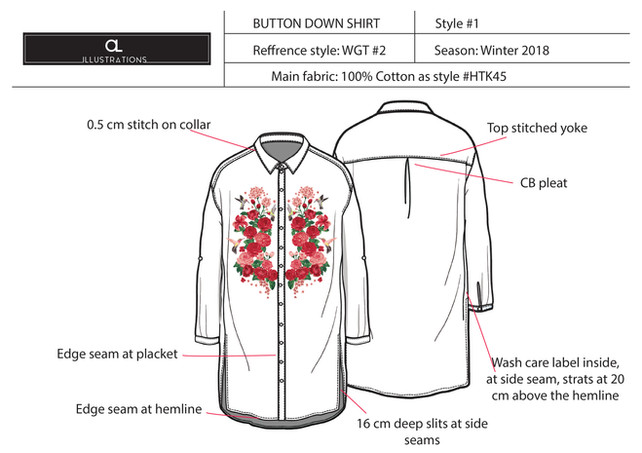 Button Down Printed Top Deatils