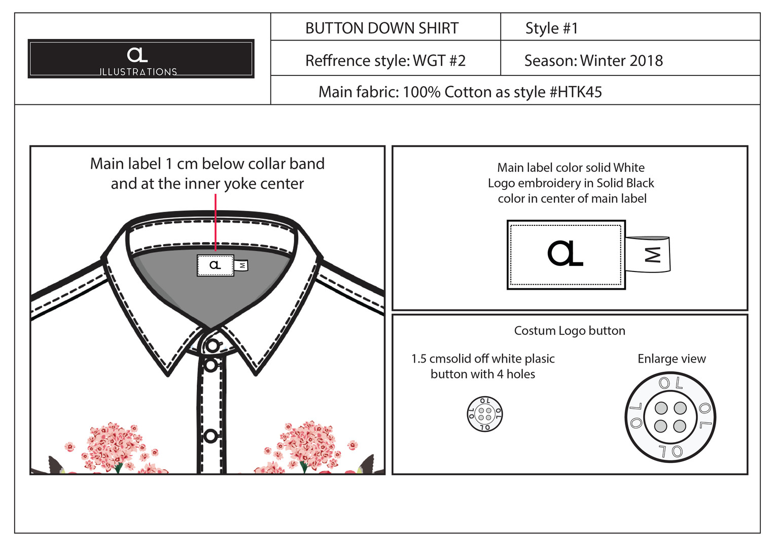 Button Down Printed Top Labels