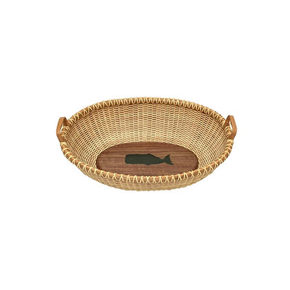 Bread basket with whale inlay