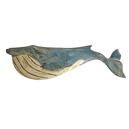 Hand carved and painted Blue Whale plaque by Wendy Lichtensteiger