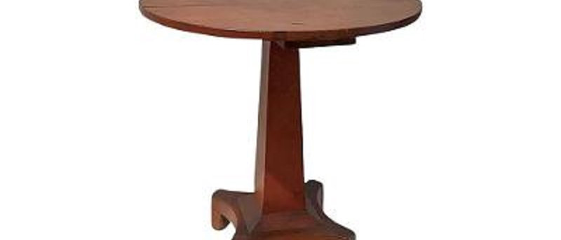 American classical center table in original red wash