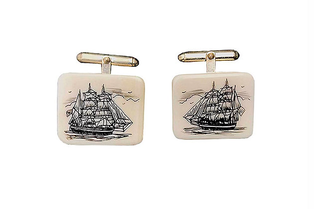 Cufflinks with Scrimshaw by Al Doucette