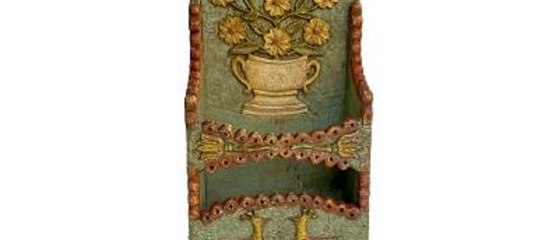 Early 19th Century Pennsylvania Carved and Painted Pipe Box