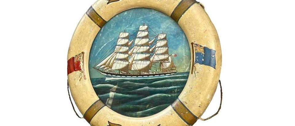 """Ship Painting """"Crown of Denmark"""" oil on board in life ring frame"""