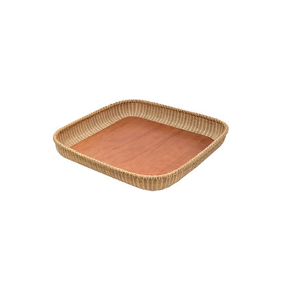 """17"""" Square Nantucket Lightship Basket Tray with Cherry Base by Jane Theobald"""