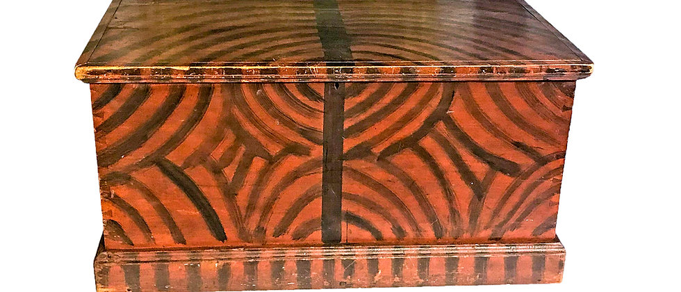 Painted Red and Black Blanket box