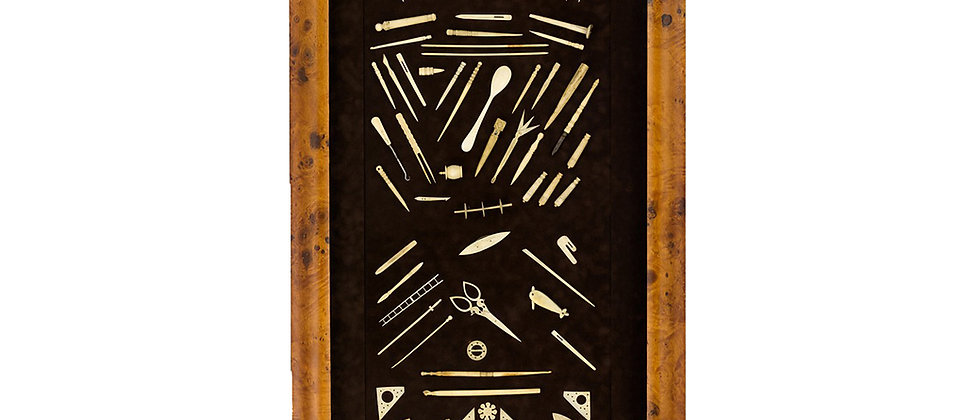 Shadow Box of Sailor Made Sewing Implements