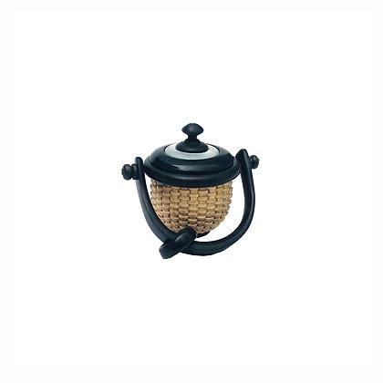 Miniature Ebony Nantucket Basket Pendant by Nap Plank