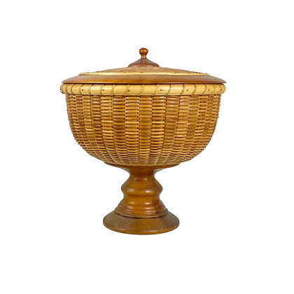Lidded Nantucket Pedestal Basket by Ainsley Rickwood