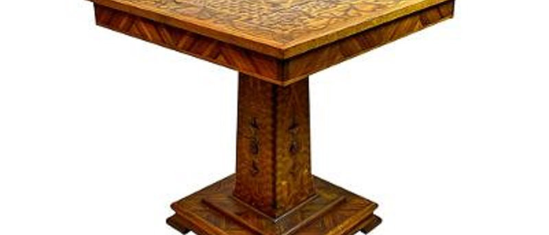 Victorian Folk Art Inlaid Center Table or Lamp Table