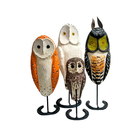Carved and Painted Owls by Jac and Patricia Johnson