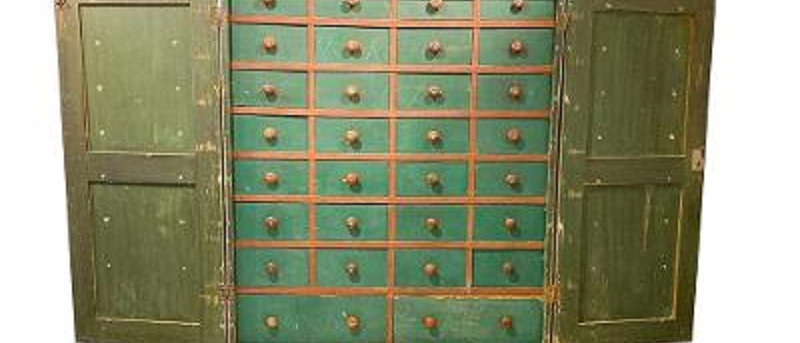 19th Century Painted Apothecary Chest with Removable Locking Doors