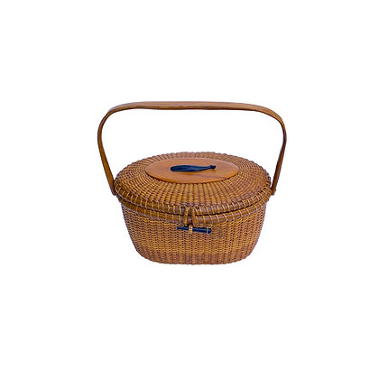 "9"" Friendship Basket by Jose' Formoso Reyes, Rare Coffin shape"