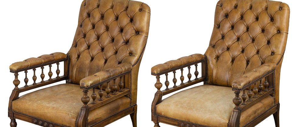 Pair of English Leather Parlor Chairs