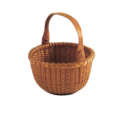 """4 3/4"""" Open Round Nantucket Lightship Basket Attributed to George Washington Ray"""
