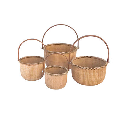 Traditional Round Nantucket Lightship Basket by Lucille and Jackie  LaRochelle