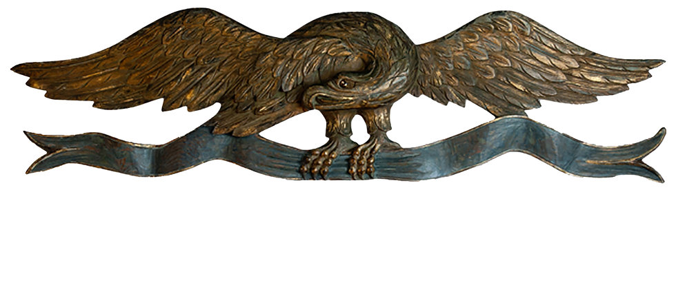 Large Carved Eagle Clutching a Banner