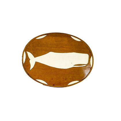 Vintage Oval Pantry Box with Inlay of Sperm whale