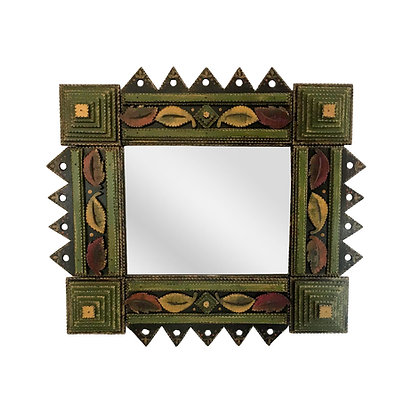 Hand Chip Carved Tramp Art Mirror by Angela Dow