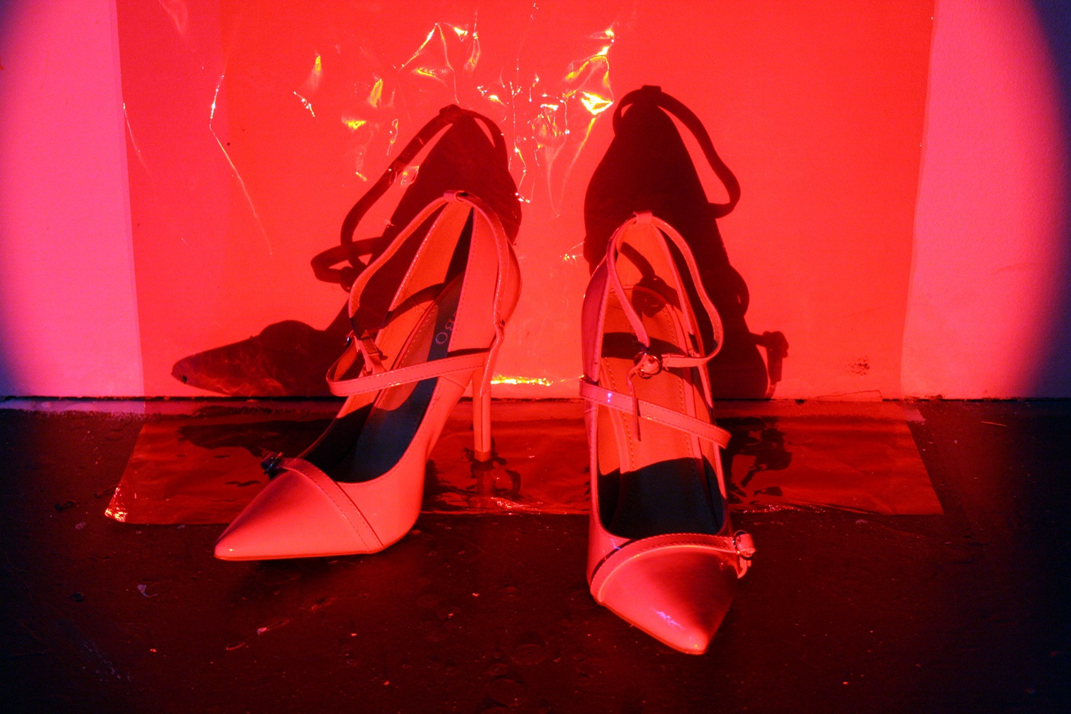 red light shoes detail