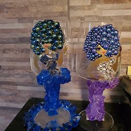 Blue & Lapis (1) and Purple & Silver(2)
