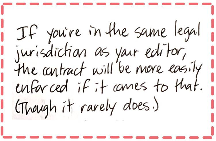 Image text: If you're in the same legal jurisdiction as your editor, the contract will be more easily enforced if it comes to that. (Though it rarely does.) | Edits by Toni Blog: editsbytoni.com