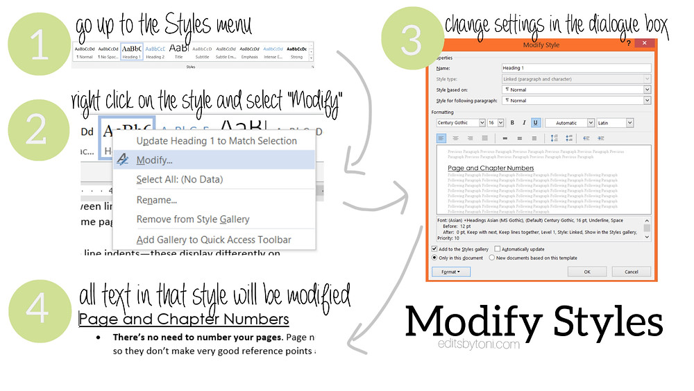 A tutorial image demonstrating how to modify styles in Microsoft Word.