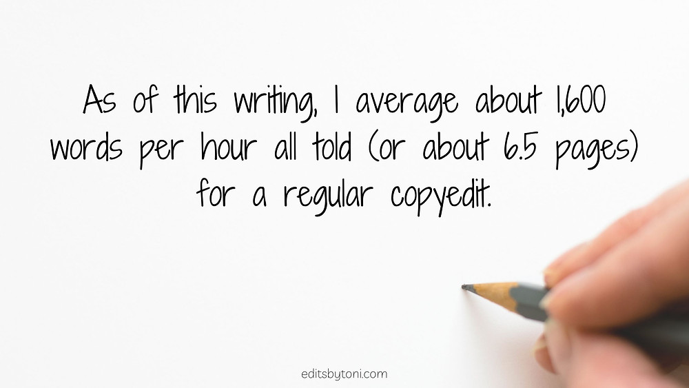Image text: As of this writing, I average about 1,600 words per hour all told (or about 6.5 pages) for a regular copyedit. | editsbytoni.com