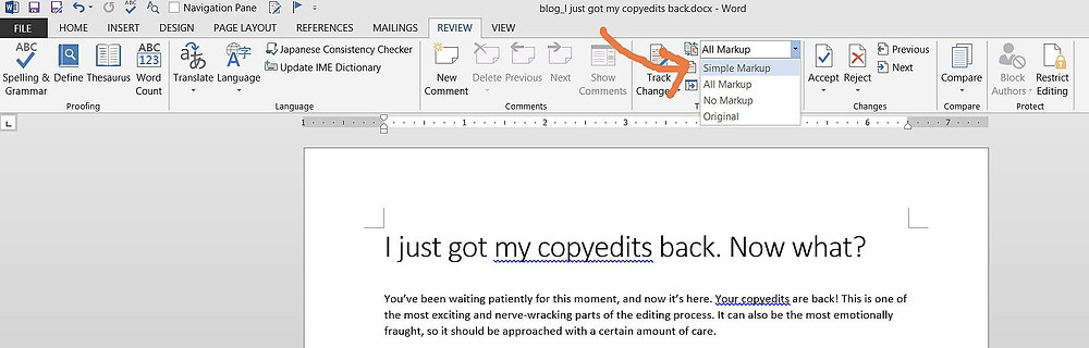 Screenshot demonstrating how to show Simple Markup in Microsoft Word.