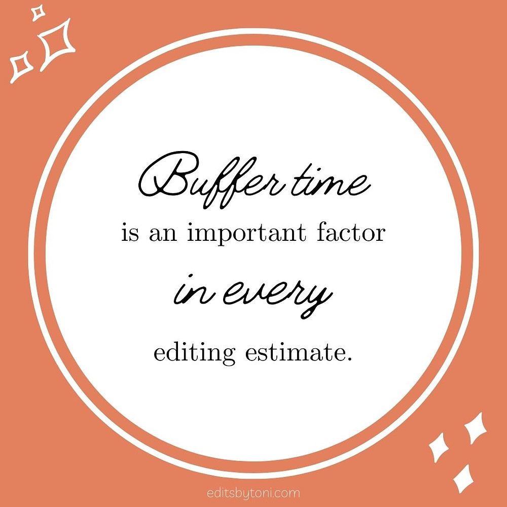 Image text: Buffer time is an important factor in every editing estimate. | editsbytoni.com