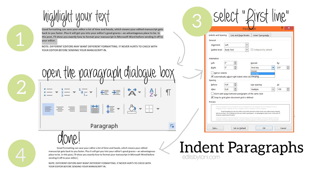 A tutorial image demonstrating how to add indents to paragraphs in Microsoft Word without using the Tab or Space keys.