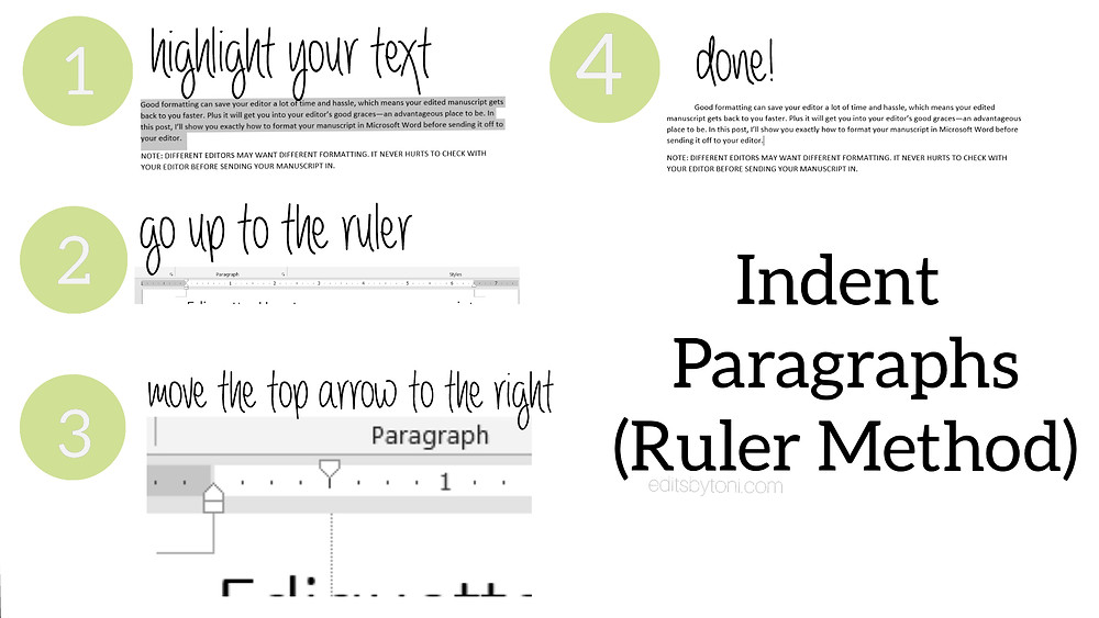 A tutorial image demonstrating how to indent paragraphs in Microsoft Word using the ruler.