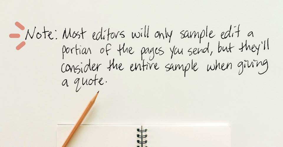 Image text: Note: Most editors will only sample edit a portion of the pages you send, but they'll consider the entire sample when giving a quote. | Edits by Toni Blog: editsbytoni.com